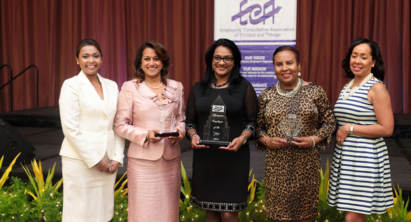 From L to R: ECA Chairman Suzetta Ali, 2nd Place Anna-Maria Garcia-Brooks of Republic Bank, Champions Narderly Rambharat of Scotiabank, 3rd Place Judith Sobion of Unit Trust Corporation